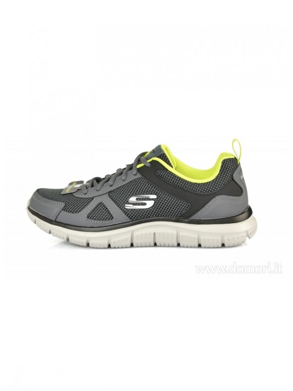 Skechers Uomo Track Bucolo Charcoal Lime
