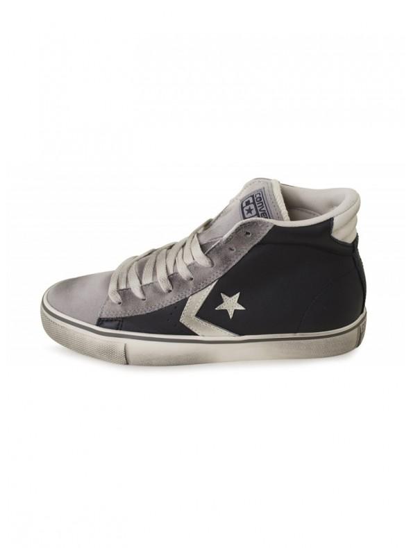 converse pro leather black grey